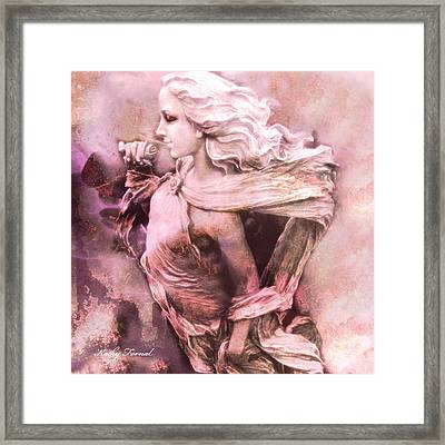Dreamy Pink Ethereal Angelic Female With Rose Framed Print by Kathy Fornal