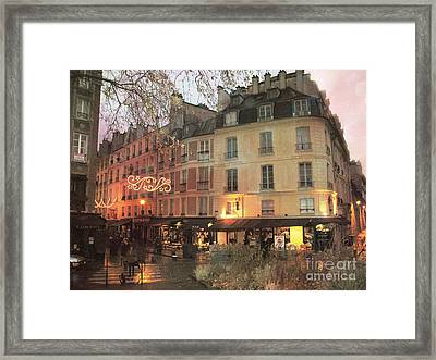 Paris Cafe Street Scene - Dreamy Romantic Paris Night Street Scene Framed Print by Kathy Fornal