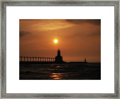 Dreamy Sunset At The Lighthouse Framed Print
