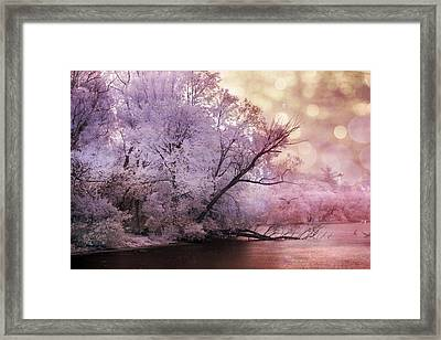 Dreamy Surreal Fantasy Pink Nature Lake Scene Framed Print by Kathy Fornal