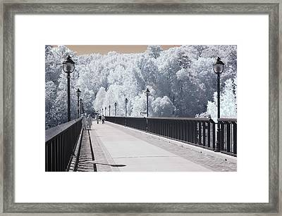 Dreamy Surreal Infrared Bridge Walkway Scene Framed Print by Kathy Fornal