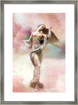 Ethereal Angel Art - Dreamy Whimsical Pastel Pink Dreaming Angel Art  Framed Print