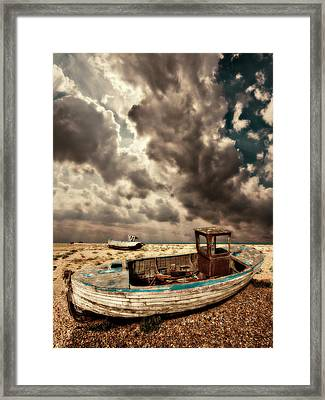 Dreamy Wrecked Wooden Fishing Boats Framed Print by Meirion Matthias