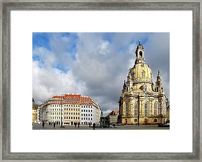 Dresden Church Of Our Lady And New Market Framed Print by Christine Till