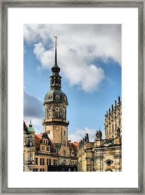Dresden Hausmannsturm - Housemann Tower Framed Print
