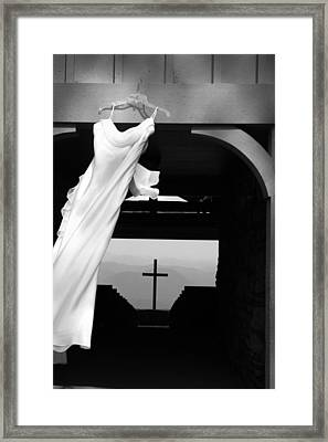 Framed Print featuring the photograph Dress And Cross by Kelly Hazel