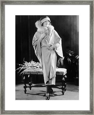 Dress Of Platinum Crepe With Fox Fur Framed Print