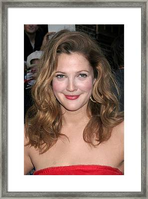 Drew Barrymore At Talk Show Appearance Framed Print by Everett
