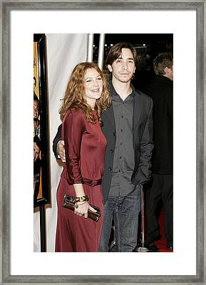 Drew Barrymore Wearing A Gucci Dress Framed Print by Everett
