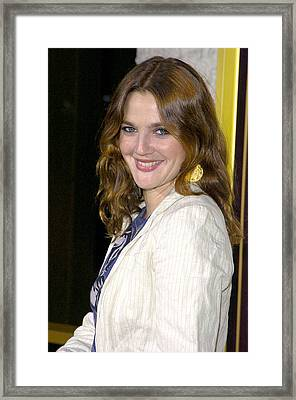 Drew Barrymore Wearing A Zara Jacket Framed Print