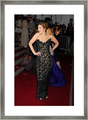 Drew Barrymore Wearing Oscar De La Framed Print by Everett