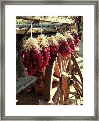 Dried Red Hot Peppers Framed Print by Cindy Wright