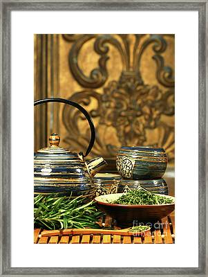 Dries Herb Leaves  Framed Print by Sandra Cunningham