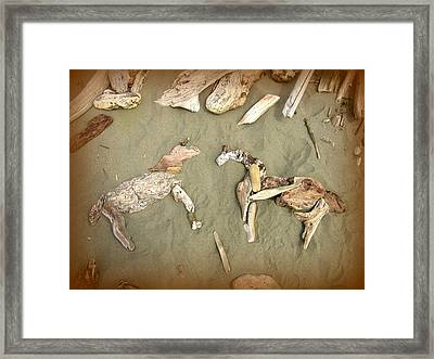 Drifting Horses Framed Print by Cindy Wright