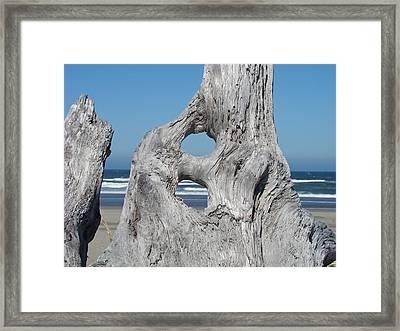Driftwood Art Prints Coastal Blue Sky Ocean Waves Shoreline Framed Print