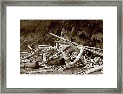 Driftwood Pile San Juan Framed Print