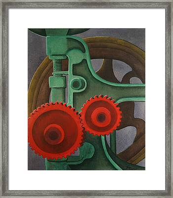 Framed Print featuring the painting Drill Gears by Paul Amaranto