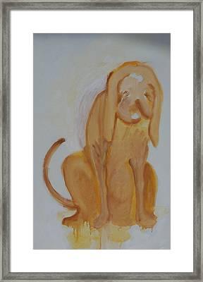 Drippy Dog Framed Print by Jay Manne-Crusoe