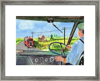 Framed Print featuring the painting Driving   Yesteryear by Audrey Pollitt