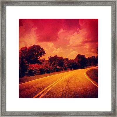 #driving #sky #clouds #road #summer Framed Print