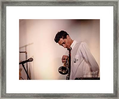 Droid- Jordan Mcclean On Trumpet Framed Print by Jim DeLillo