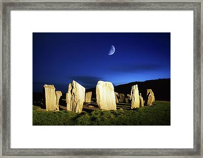 Drombeg, County Cork, Ireland Moon Over Framed Print by Richard Cummins