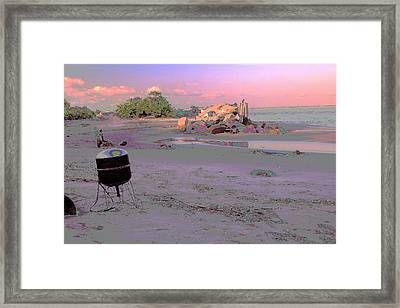 Drum On Beach Framed Print