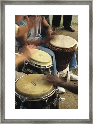 Drummers Of Varied Backgrounds Join Framed Print by Stephen St. John
