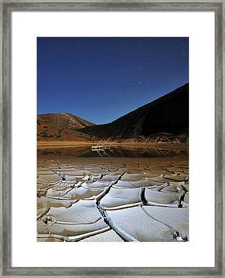 Dry Landscape With Stars And Mountains Framed Print by Davidexuvia