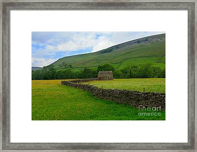 Dry Stone Walls And Stone Barn Framed Print by Louise Heusinkveld