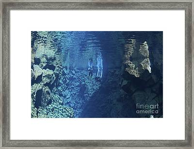 Dry Suit Divers Entering The Gin Clear Framed Print by Mathieu Meur