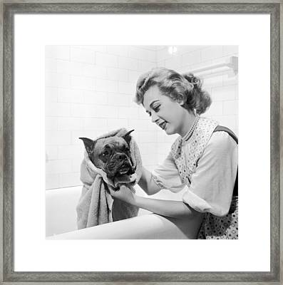 Drying Doggy Framed Print