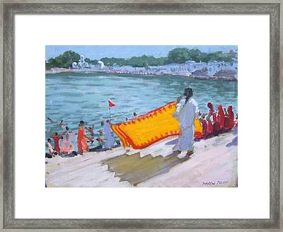 Drying Sari Pushkar  Framed Print by Andrew Macara