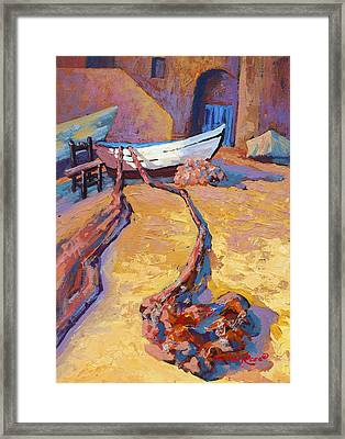Drying The Nets Framed Print by Marion Rose