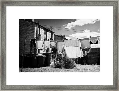 Drying Washing On A Washing Line At The Rear Of Tenement Buildings In Kilmarnock Scotland Uk United  Framed Print by Joe Fox