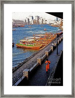 Dubai Water Taxis Framed Print by First Star Art