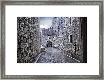 Dubrovnik In The Rain - Old City Framed Print by Madeline Ellis