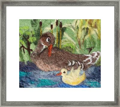 Duck And Duckling Framed Print by Nicole Besack