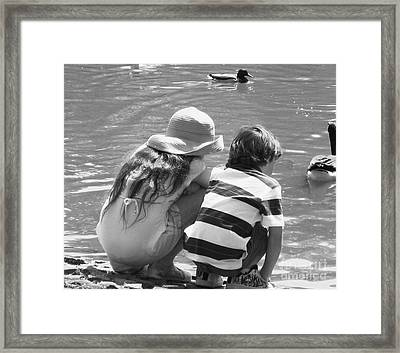 Duck Pond Siblings Framed Print by Ann Johndro-Collins