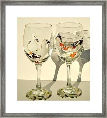 Ducks On Wineglasses Framed Print by Pauline Ross