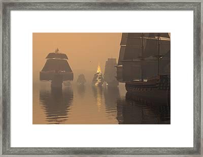 Duel In The Fog Framed Print