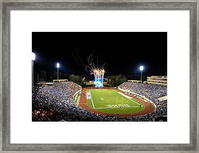 Duke Fireworks At A Packed Wallace Wade Stadium Framed Print by Lance King