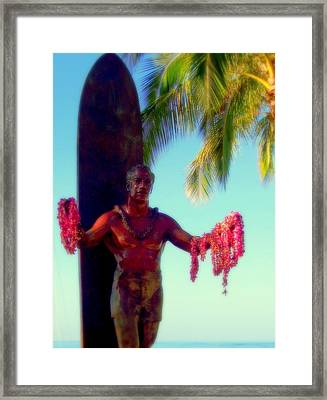 Duke Kahanamoku Framed Print by Karen Wiles