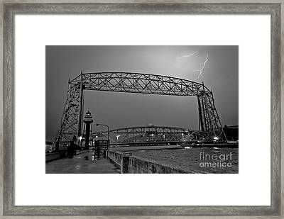 Duluth Lift Bridge Under Lightning Framed Print