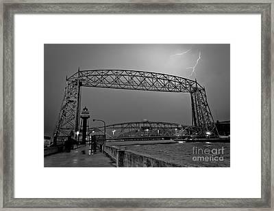 Duluth Lift Bridge Under Lightning Framed Print by Mark David Zahn