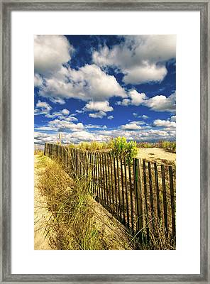 Framed Print featuring the photograph Dune Fence Me In by Jim Moore