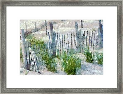 Dune Fences At Cape Hatteras National Seashore Framed Print by Anne Kitzman