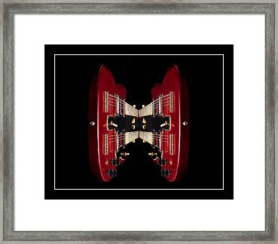 Duo-neck Red Guitar Framed Print