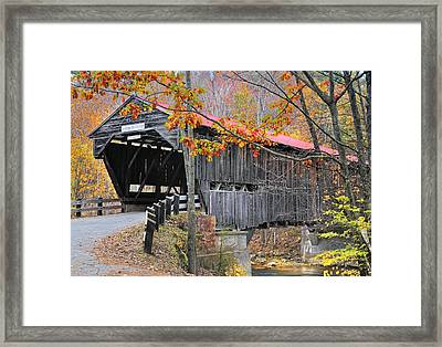 Durgin Covered Bridge - New Hampshire  Framed Print by Thomas Schoeller