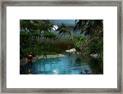 Dusk At The Blue Lagoon Framed Print